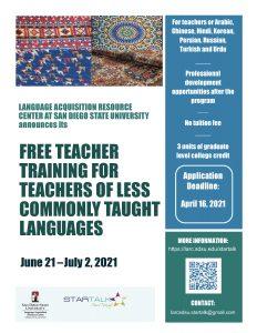 STARTALK Teacher program flyer2021